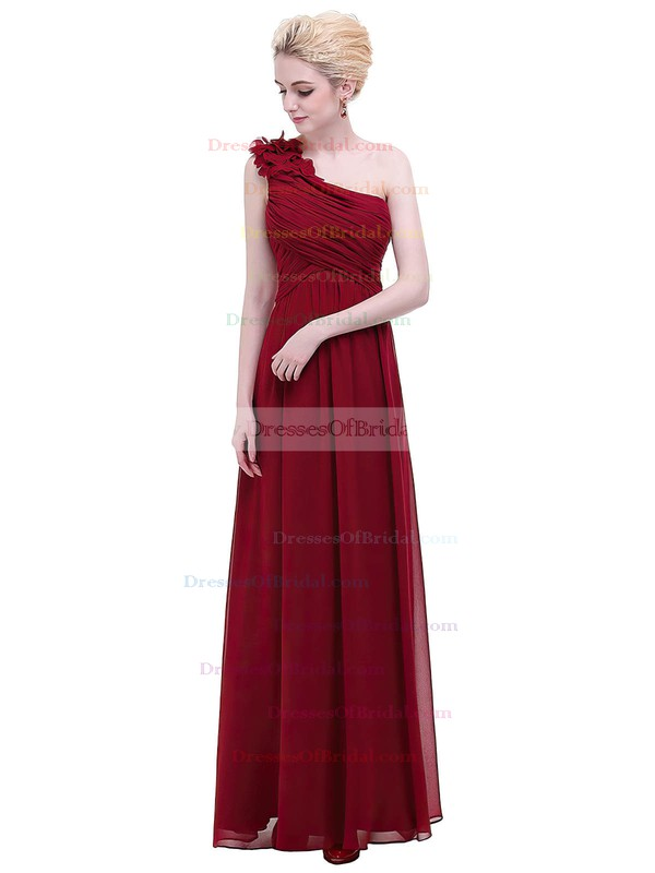 Chiffon Empire One Shoulder Floor-length with Flower(s) Bridesmaid Dresses #DOB01013374