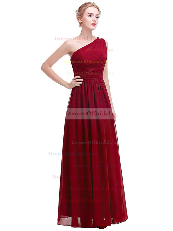 Chiffon A-line One Shoulder Ankle-length with Beading Bridesmaid Dresses #DOB01013375