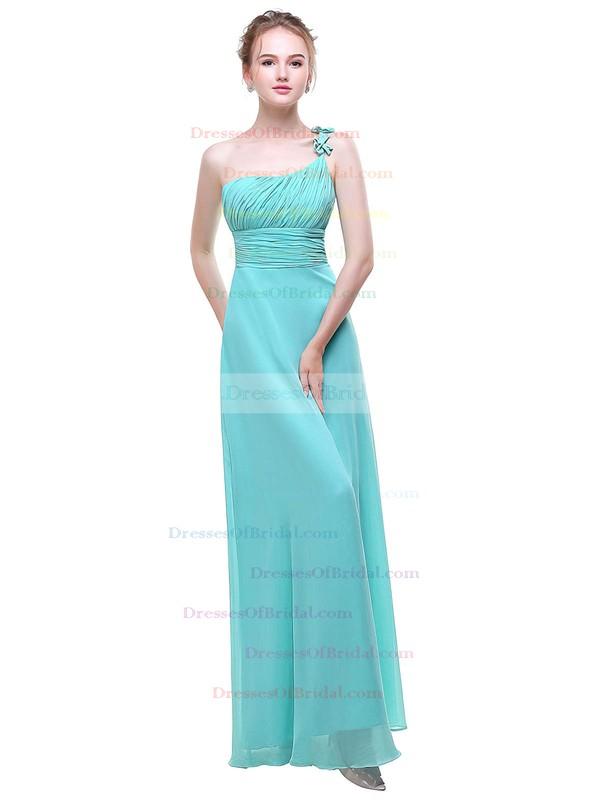 Chiffon A-line One Shoulder Floor-length with Flower(s) Bridesmaid Dresses #DOB01013376