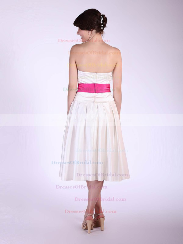 Strapless A-line Tea-length Satin Sashes/Ribbons Bridesmaid Dresses #DOB01012029