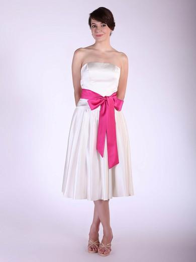 Strapless A-line Tea-length Satin Sashes/Ribbons Bridesmaid Dresses #DOB01012029