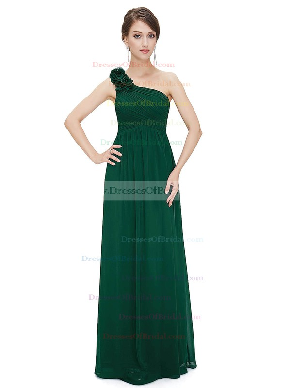 Chiffon Empire One Shoulder Ankle-length with Flower(s) Bridesmaid Dresses #DOB01013377