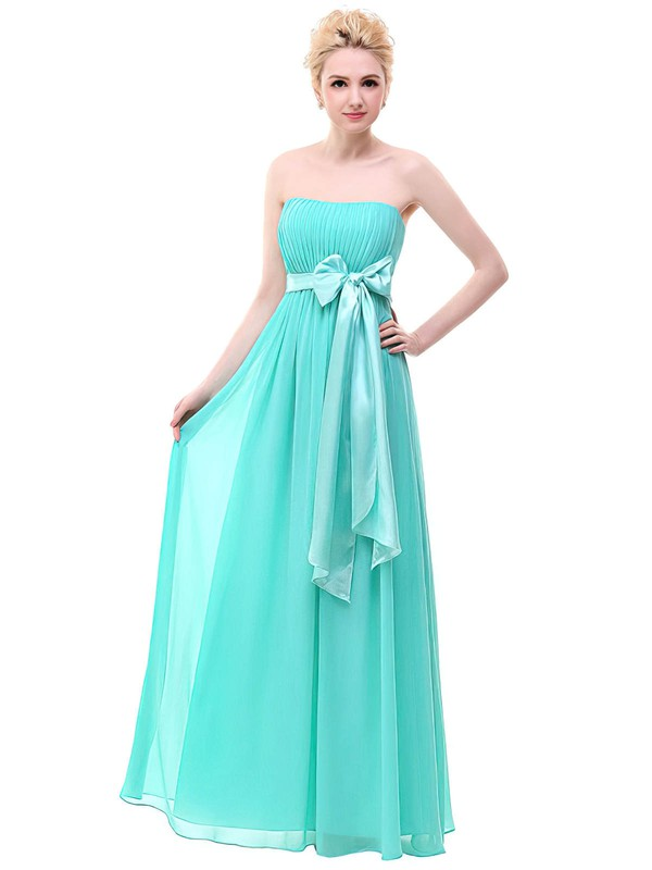 Chiffon Empire Strapless Floor-length with Sashes / Ribbons Bridesmaid Dresses #DOB01013378