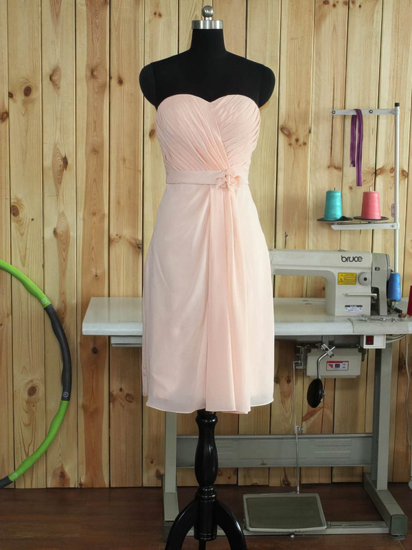 Chiffon Sheath/Column Sweetheart Short/Mini with Sashes / Ribbons Bridesmaid Dresses #DOB01013379