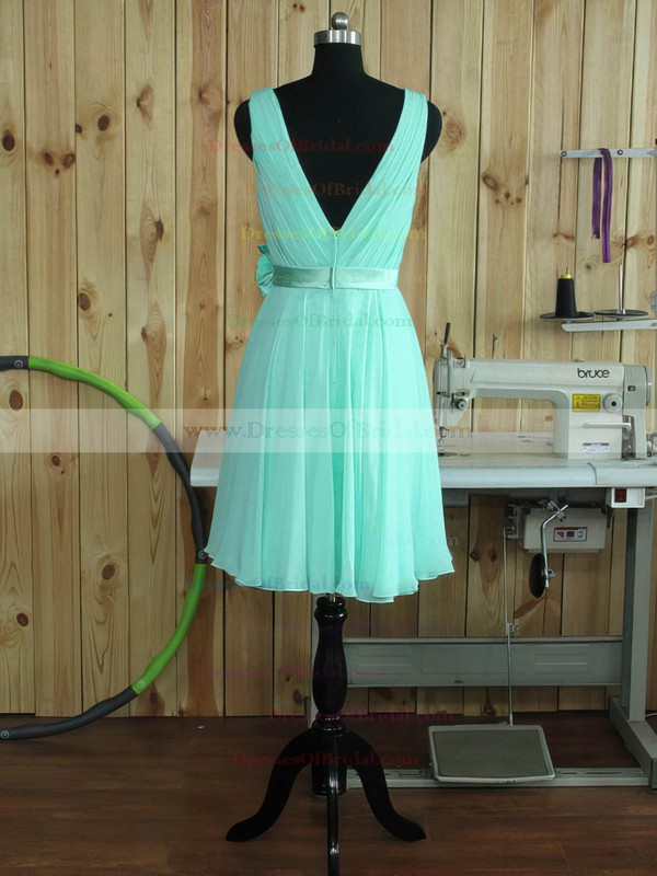 Chiffon A-line V-neck Short/Mini with Sashes / Ribbons Bridesmaid Dresses #DOB01013380