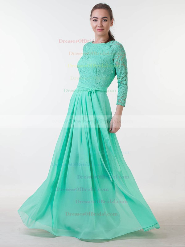 Lace Chiffon A-line Scoop Neck Floor-length with Sashes / Ribbons Bridesmaid Dresses #DOB01013381