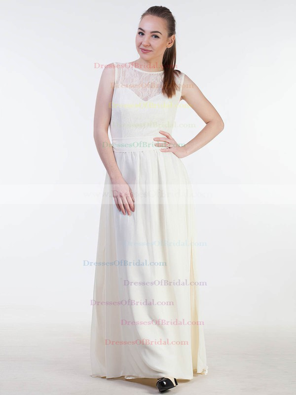 Lace Chiffon A-line Scoop Neck Floor-length with Sashes / Ribbons Bridesmaid Dresses #DOB01013383