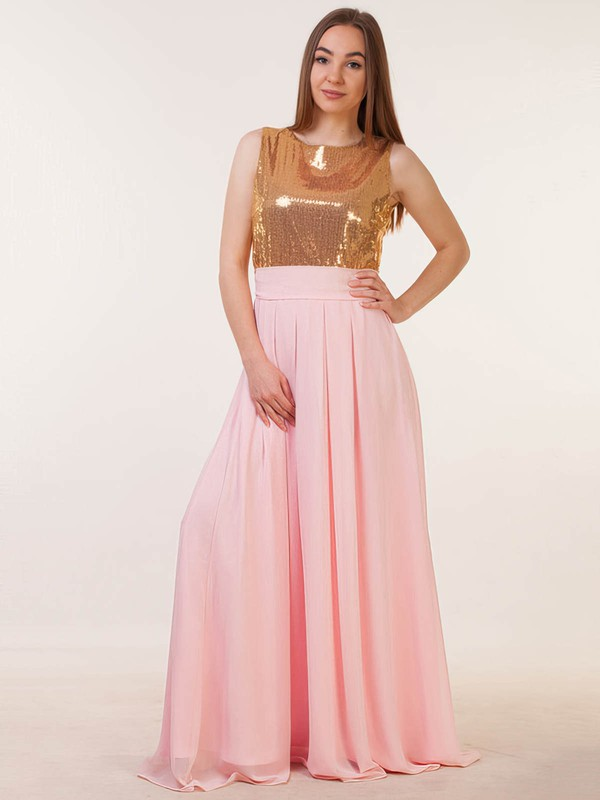 Chiffon Sequined A-line Scoop Neck Floor-length with Sashes / Ribbons Bridesmaid Dresses #DOB01013386