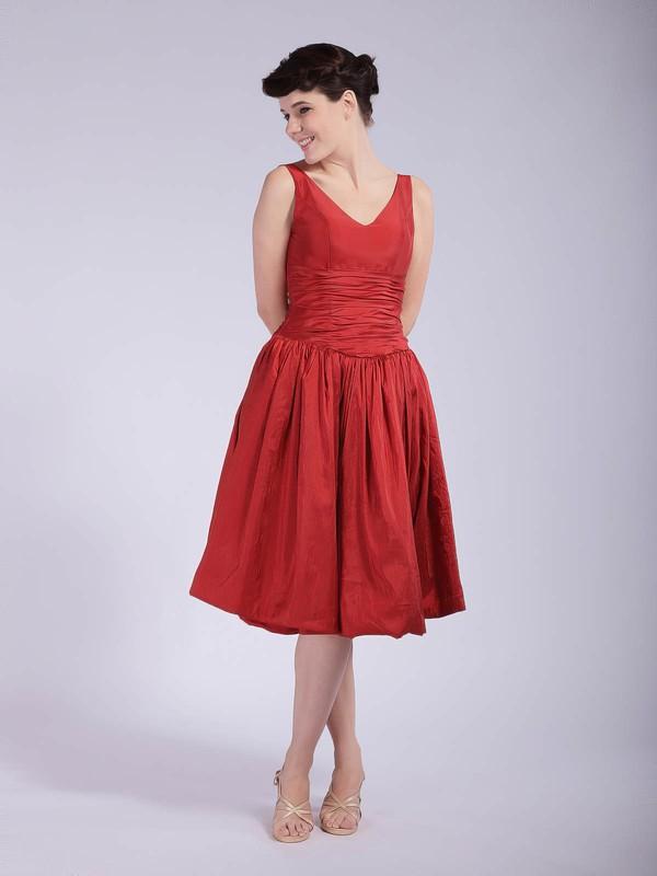 V-neck A-line Tea-length Taffeta Pleats Bridesmaid Dresses #DOB01012037