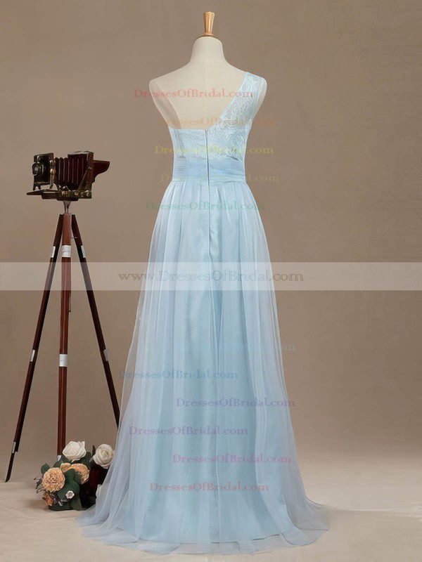 Tulle A-line One Shoulder Floor-length with Lace Bridesmaid Dresses #DOB01013390