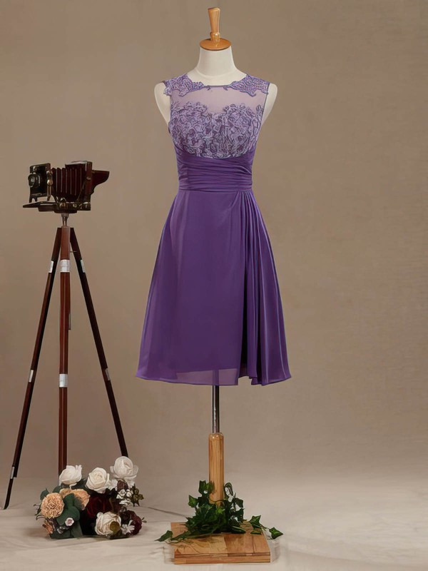 Tulle Chiffon A-line Scoop Neck Short/Mini with Appliques Lace Bridesmaid Dresses #DOB01013391