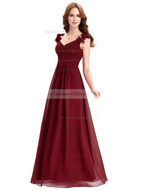 Chiffon A-line V-neck Floor-length with Flower(s) Bridesmaid Dresses #DOB01013393