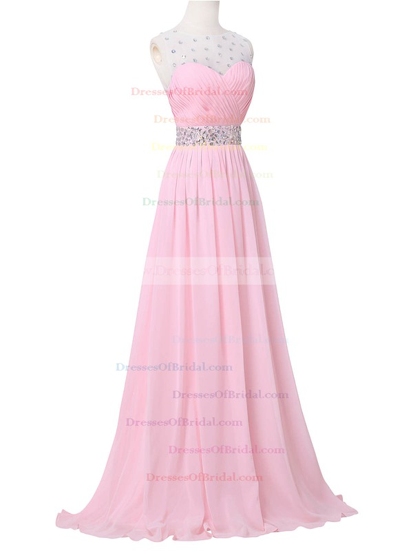 Tulle Chiffon A-line Scoop Neck Sweep Train with Crystal Detailing Bridesmaid Dresses #DOB01013394
