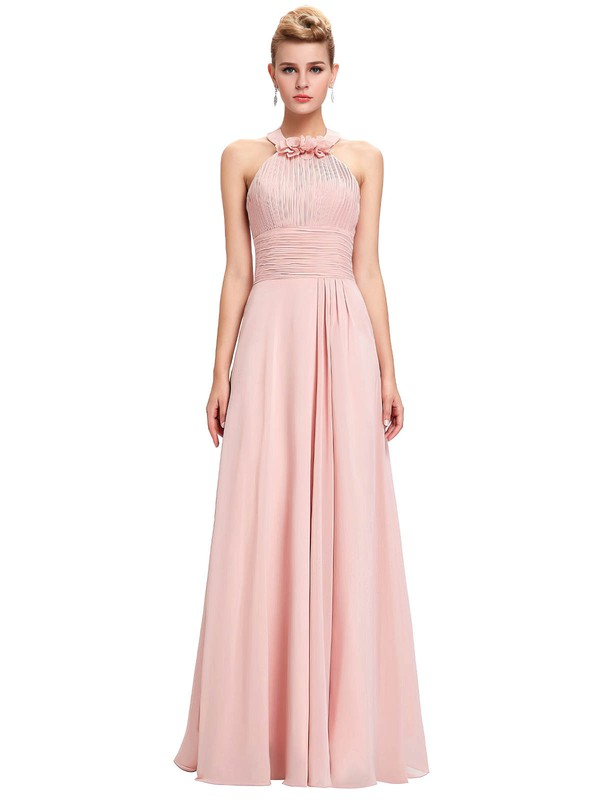 Chiffon A-line Halter Floor-length with Flower(s) Bridesmaid Dresses #DOB01013396
