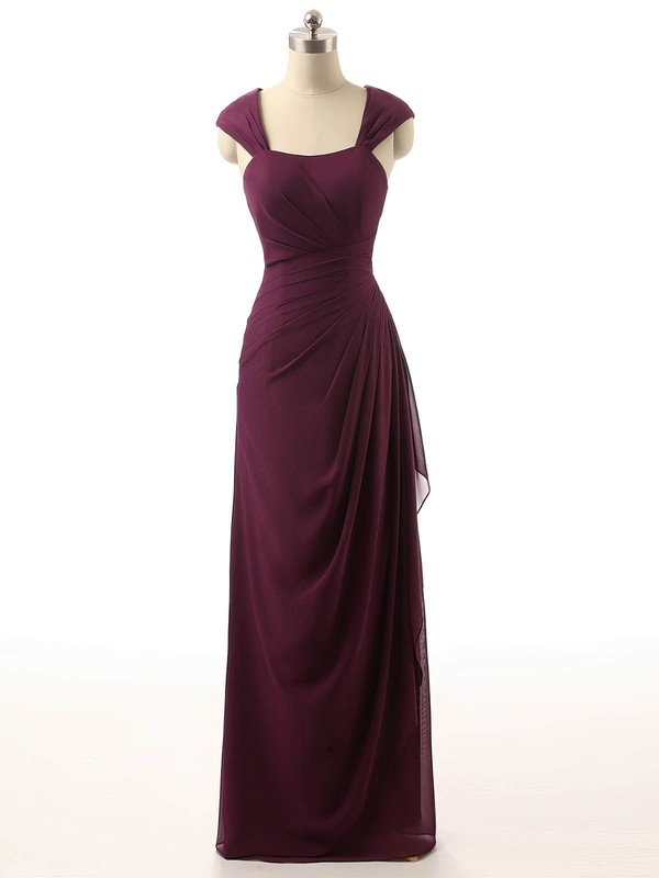 Chiffon Sheath/Column Square Neckline Chapel Train with Ruffles Bridesmaid Dresses #DOB01013398