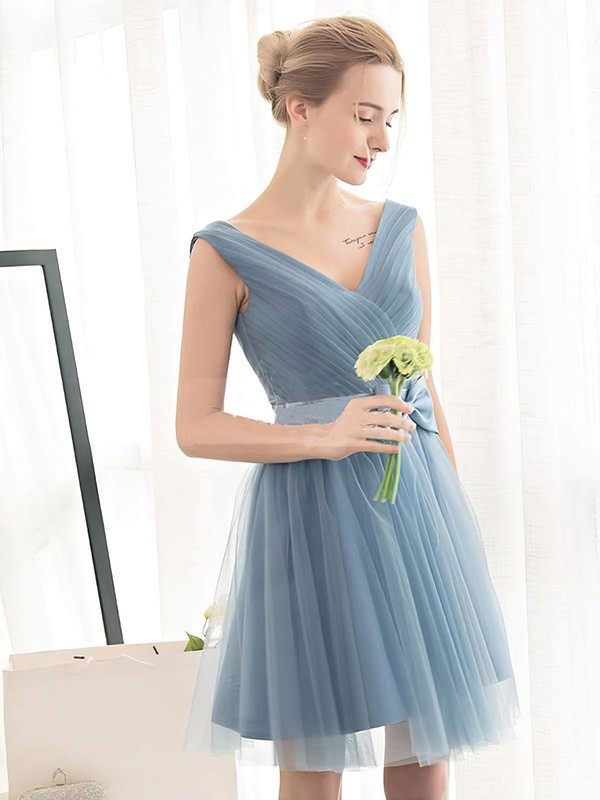 Tulle A-line V-neck Short/Mini with Sashes / Ribbons Bridesmaid Dresses #DOB01013399