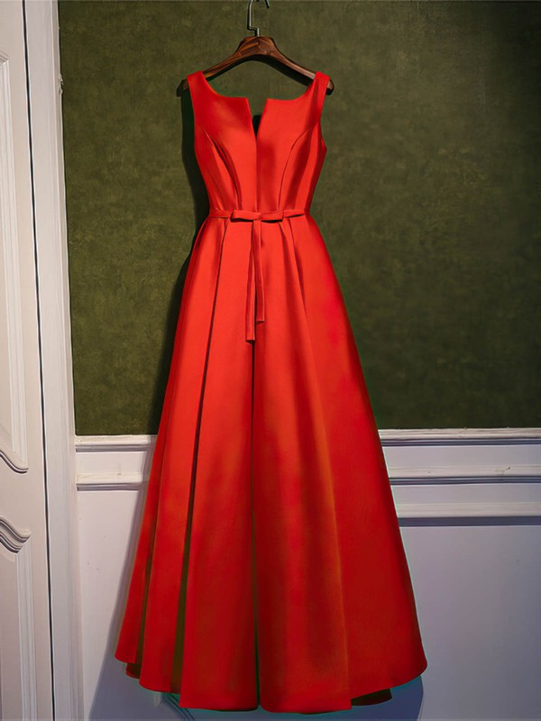 Satin A-line Scoop Neck Ankle-length with Sashes / Ribbons Bridesmaid Dresses #DOB01013400