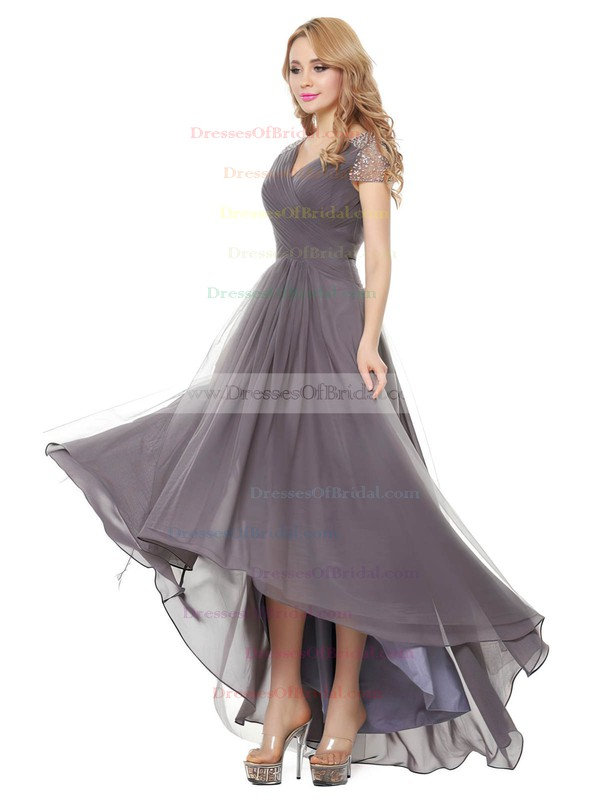 Tulle A-line V-neck Asymmetrical with Beading Bridesmaid Dresses #DOB01013401