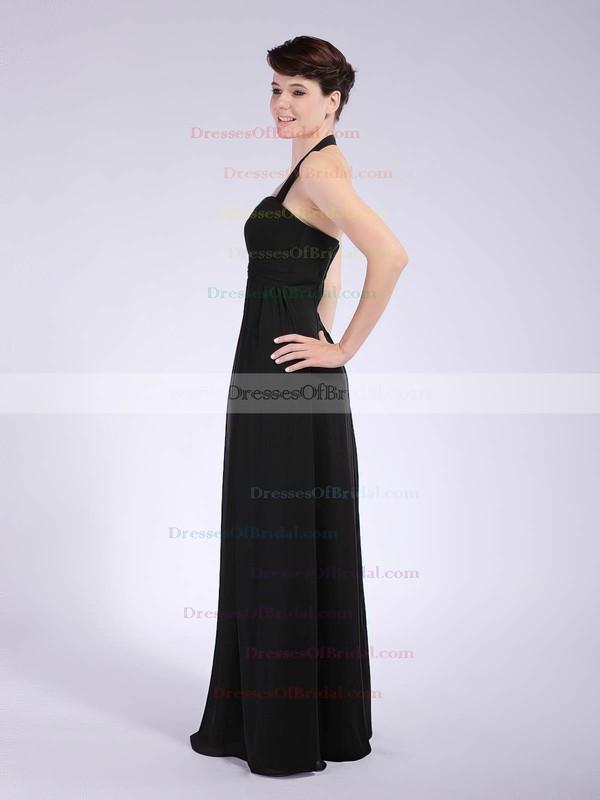 Halter Sheath/Column Floor-length Chiffon Draping Bridesmaid Dresses #DOB01012041
