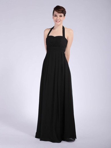 Halter Sheath/Column Floor-length Chiffon Draping Bridesmaid Dresses #DOB01012041