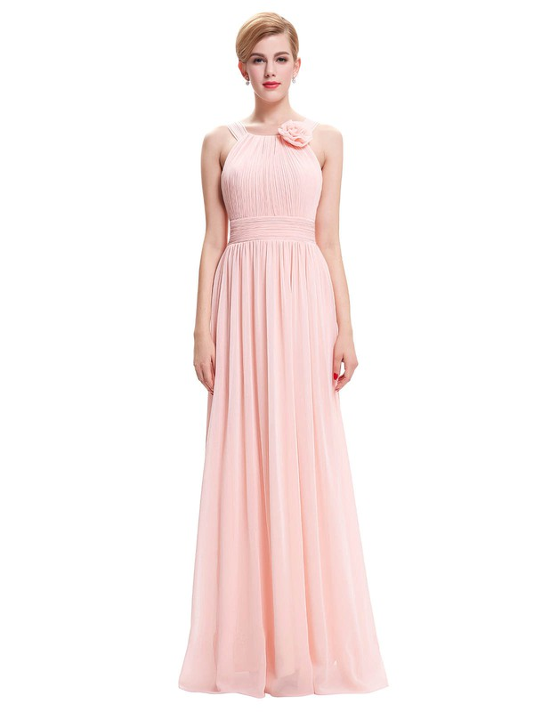 Chiffon A-line Scoop Neck Floor-length with Pleats Bridesmaid Dresses #DOB01013402