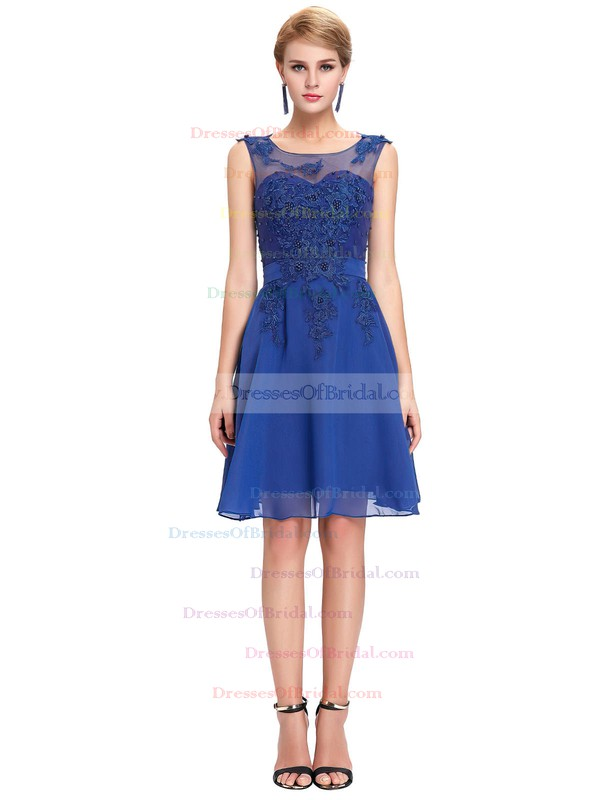 Chiffon Tulle A-line Scoop Neck Short/Mini with Appliques Lace Bridesmaid Dresses #DOB01013404