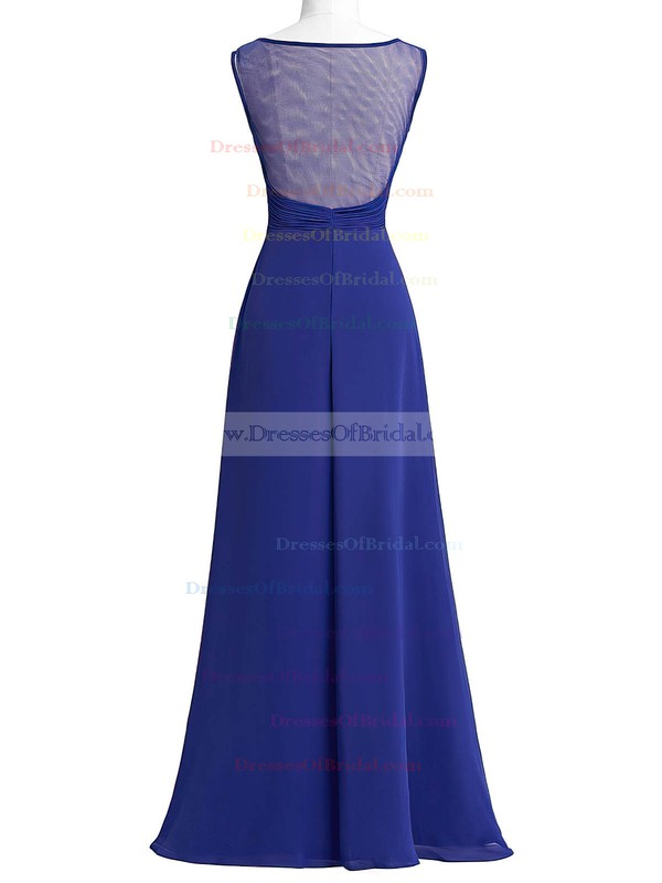 Chiffon Tulle A-line Scoop Neck Floor-length with Beading Bridesmaid Dresses #DOB01013405