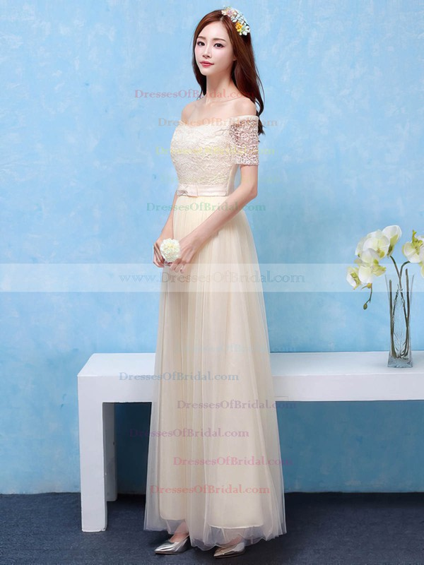 Lace Tulle A-line Off-the-shoulder Ankle-length with Sashes / Ribbons Bridesmaid Dresses #DOB01013406