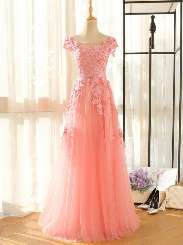 Tulle A-line Scoop Neck Floor-length with Appliques Lace Bridesmaid Dresses #DOB01013407
