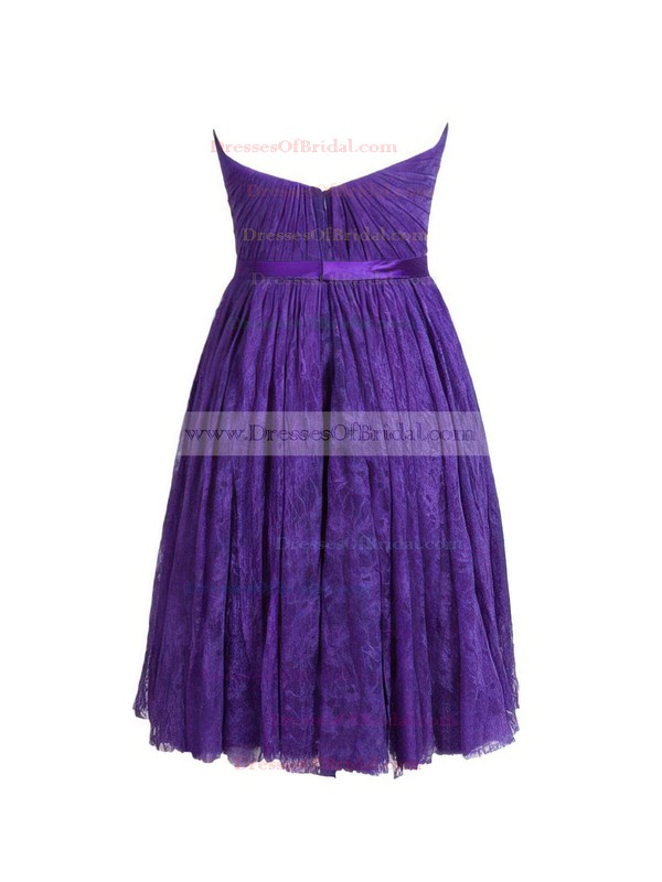 Lace A-line Sweetheart Short/Mini with Sashes / Ribbons Bridesmaid Dresses #DOB01013410