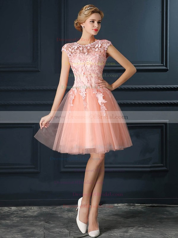 Tulle A-line Scoop Neck Short/Mini with Appliques Lace Bridesmaid Dresses #DOB01013413