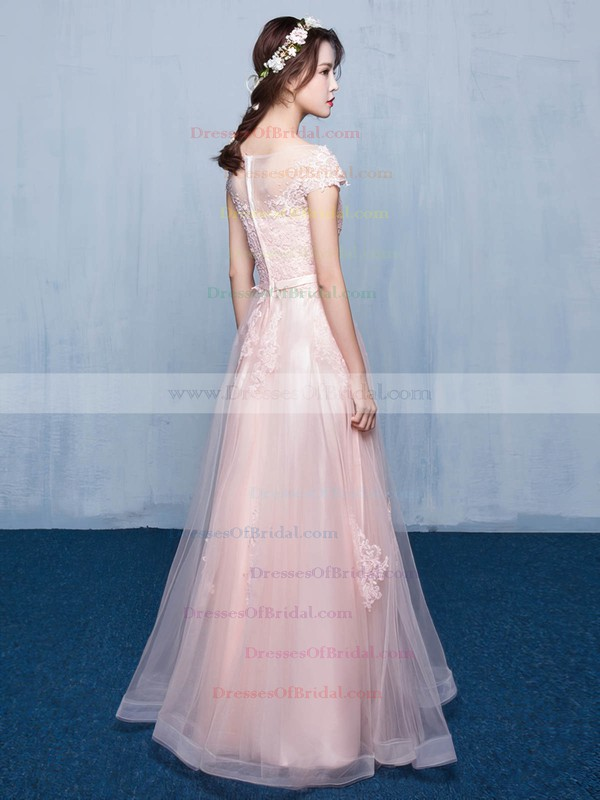 Tulle A-line Scoop Neck Floor-length with Appliques Lace Bridesmaid Dresses #DOB01013414