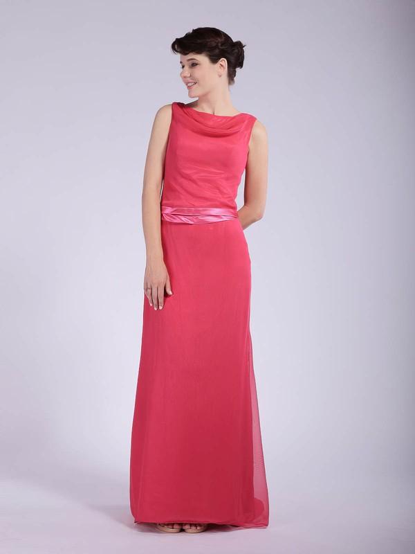 Cowl Sheath/Column Floor-length Chiffon Sashes/Ribbons Bridesmaid Dresses #DOB01012044