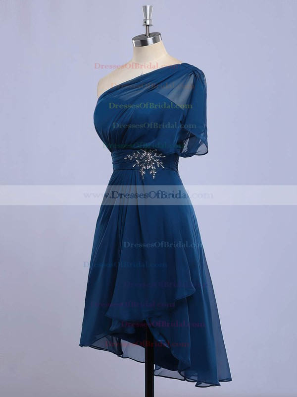 Chiffon A-line One Shoulder Asymmetrical with Beading Bridesmaid Dresses #DOB01013416