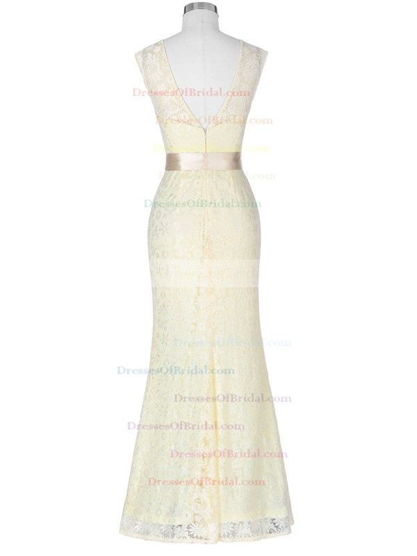 Lace Trumpet/Mermaid Scoop Neck Floor-length with Sashes / Ribbons Bridesmaid Dresses #DOB01013418