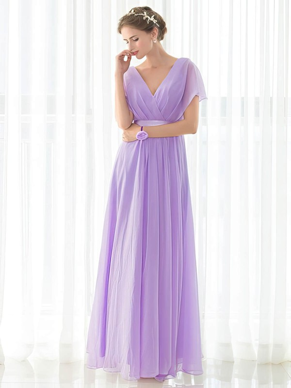 Chiffon Empire V-neck Floor-length with Sashes / Ribbons Bridesmaid Dresses #DOB01013419