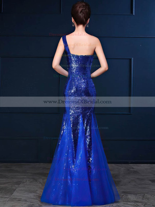 Tulle Sequined Trumpet/Mermaid One Shoulder Floor-length with Ruffles Bridesmaid Dresses #DOB01013420