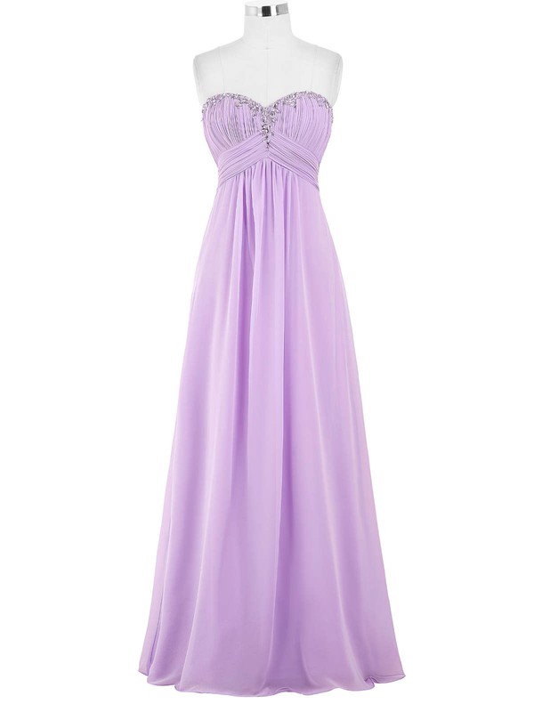 Chiffon Empire Sweetheart Floor-length with Beading Bridesmaid Dresses #DOB01013421