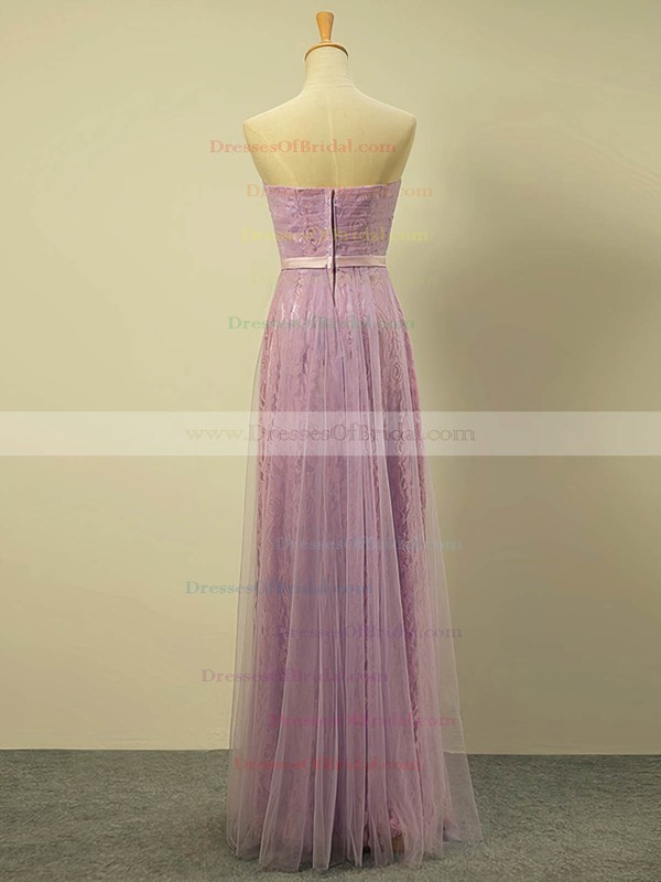 Lace Tulle A-line Sweetheart Floor-length with Sashes / Ribbons Bridesmaid Dresses #DOB01013422
