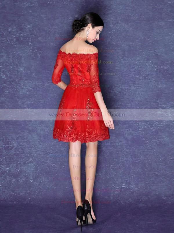 Tulle A-line Off-the-shoulder Short/Mini with Appliques Lace Bridesmaid Dresses #DOB01013423
