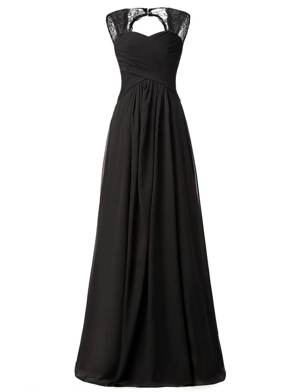 Lace Chiffon A-line Sweetheart Floor-length with Ruffles Bridesmaid Dresses #DOB01013427