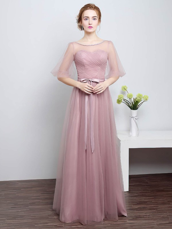Tulle A-line Scoop Neck Floor-length with Sashes / Ribbons Bridesmaid Dresses #DOB01013430