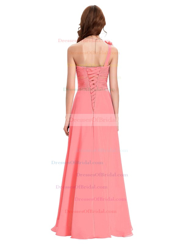Chiffon A-line One Shoulder Floor-length with Crystal Detailing Bridesmaid Dresses #DOB01013431