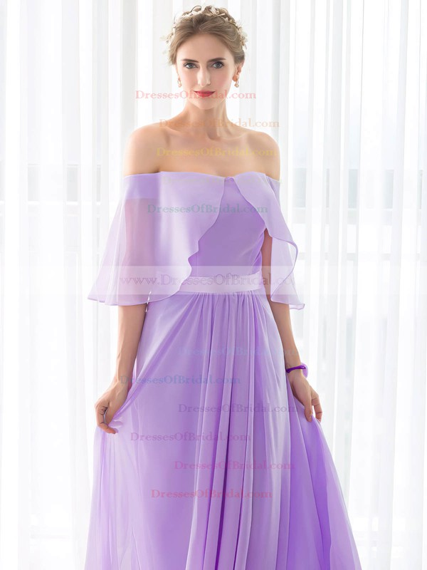 Chiffon A-line Off-the-shoulder Floor-length with Sashes / Ribbons Bridesmaid Dresses #DOB01013433
