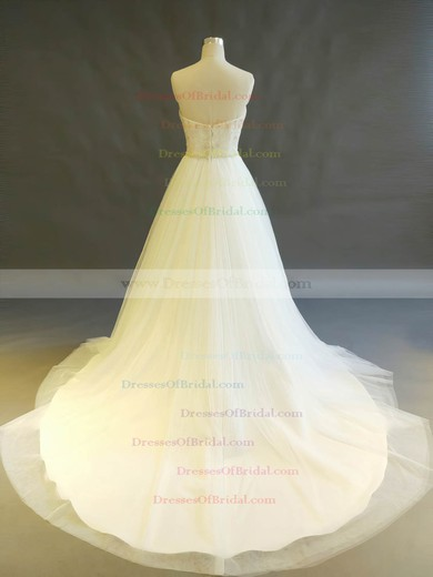 Tulle Ball Gown Sweetheart Chapel Train with Beading Wedding Dresses #DOB00022897