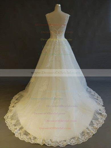 Tulle Ball Gown Scoop Neck Sweep Train with Appliques Lace Wedding Dresses #DOB00022899