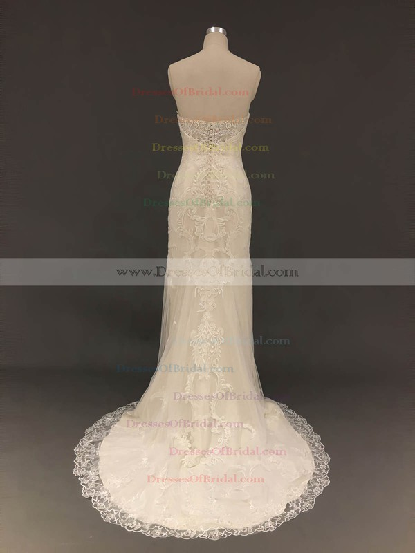 Tulle Trumpet/Mermaid Sweetheart Sweep Train with Appliques Lace Wedding Dresses #DOB00022900