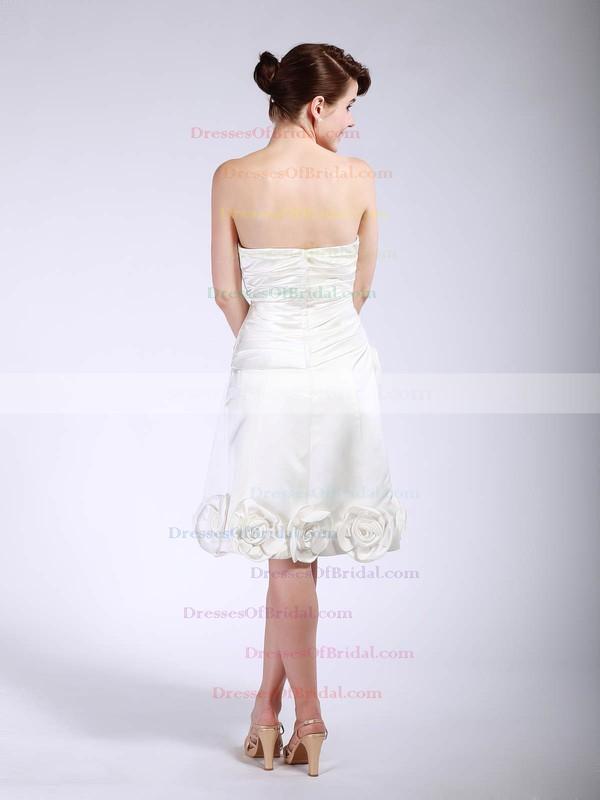 Strapless A-line Tea-length Satin Flower(s) Bridesmaid Dresses #DOB01012048