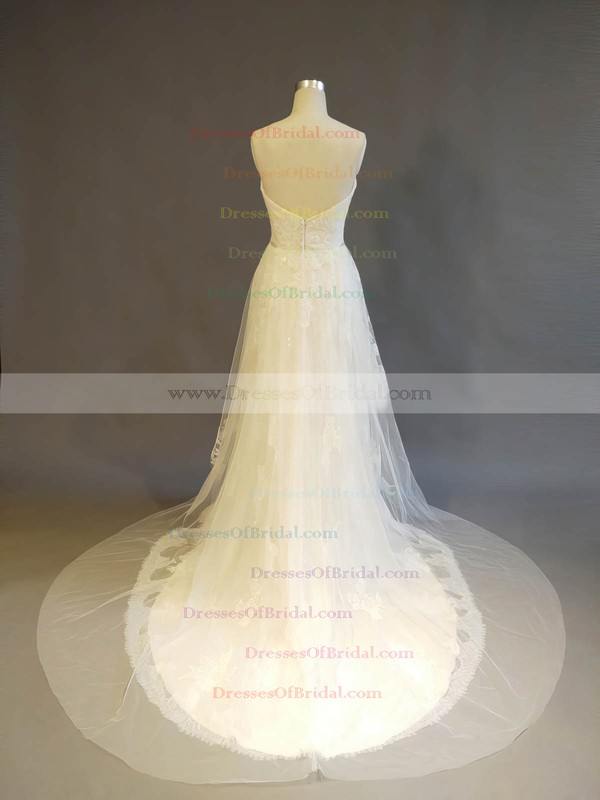 Tulle Lace A-line Sweetheart Court Train with Crystal Detailing Wedding Dresses #DOB00022902