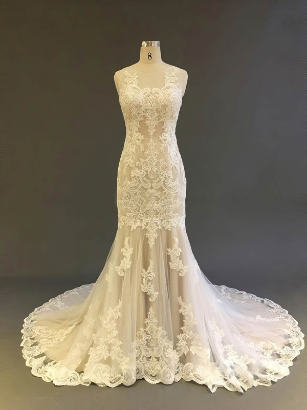 Tulle Trumpet/Mermaid Scoop Neck Court Train with Appliques Lace Wedding Dresses #DOB00022903